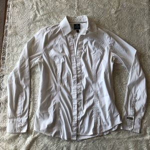 Express fitted white dress shirt